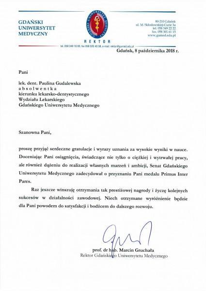 gratulacje od rektora gdańskiego uniwersytetu medycznego wysokich osiągnięć w nauce Paulina Gudalewska