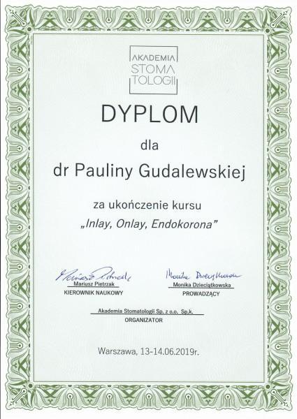dyplom dla Pauliny Gudalewskiej za ukończenie kursu Inlay, Onlay, Endkorona