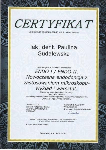 certyfikat ukończenia doskonalącego kursu medycznego dla Pauliny Gudalewskiej