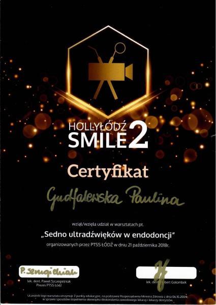 HollyŁódź Smile 2 certyfikat udziału w warsztatach dla Pauliny Gudalewskiej