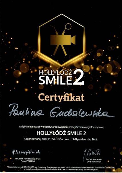 HollyŁódź smile 2 - certyfika uczestnictwa Pauliny Gudalewskiej