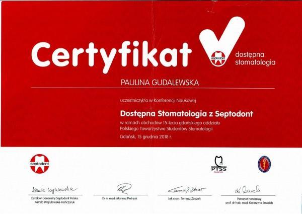 dostępna stomatologia z septodont certyfikat Pauliny Gudalewskiej