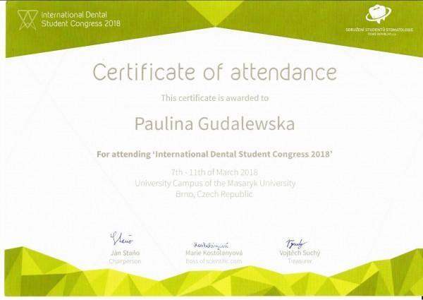 certyfikat Pauliny Gudalewskiej International Dental Student Congress 2018