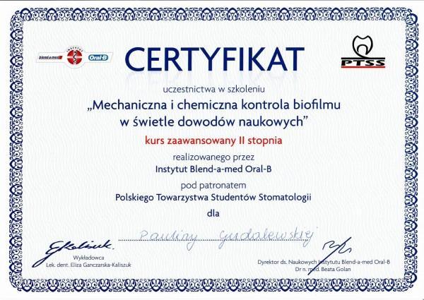 certyfikat Pauliny Gudalewskiej