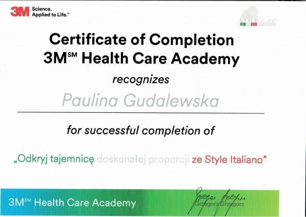 certyfikat Pauliny Gudalewskiej 3M