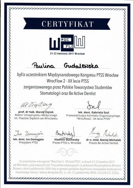 certyfikat uczestnika Międzynarodowego Kongresu Wrocflow 2 Paulina Gudalewska