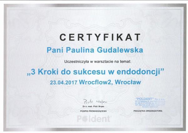 certyfikat uczestnictwa w kursie 3 kroki do sukcesu w endodoncji - dla Pauliny Gudalewskiej