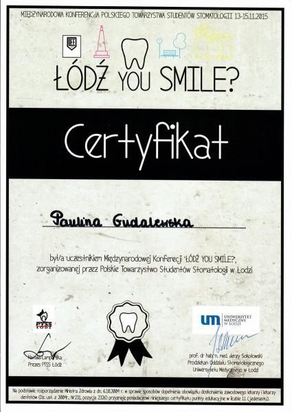 Łódź you smile - certyfikat uczestnika- Paulina Gudalewska