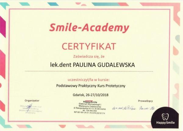 certyfikat uczestnictwa w kursie protetycznym - Paulina Gudalewska