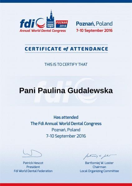 Paulina Gudalewska certyfikat fdi