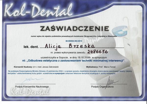 Zaświadczenie Kol-Dental dla Alicji Brzeskiej