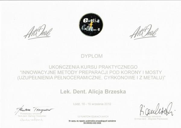 dyplom ukończenia kursu praktycznego lekarz dentysta Alicja Brzeska