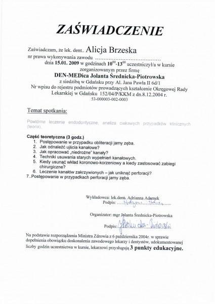 zaświadczenie o uprawnieniach do wykonywania zawodu Alicji Brzeskiej