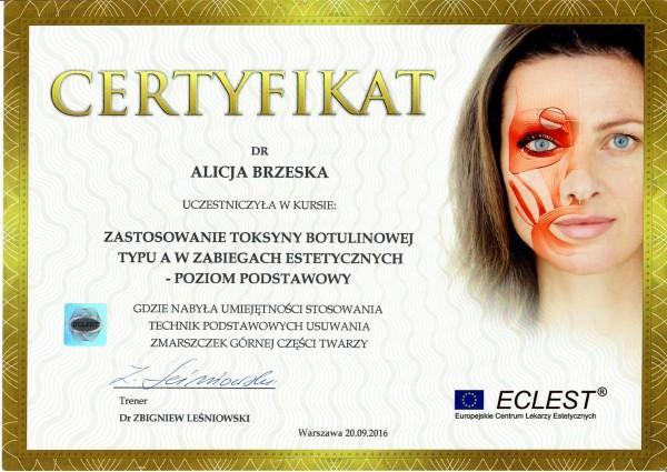certyfikat Eclest dla Alicji Brzeskiej 3