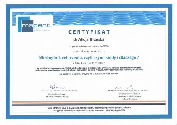 certyfikat Madent dla Alicji Brzeskiej 2