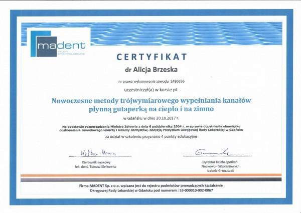 certyfikat Madent dla Alicji Brzeskiej