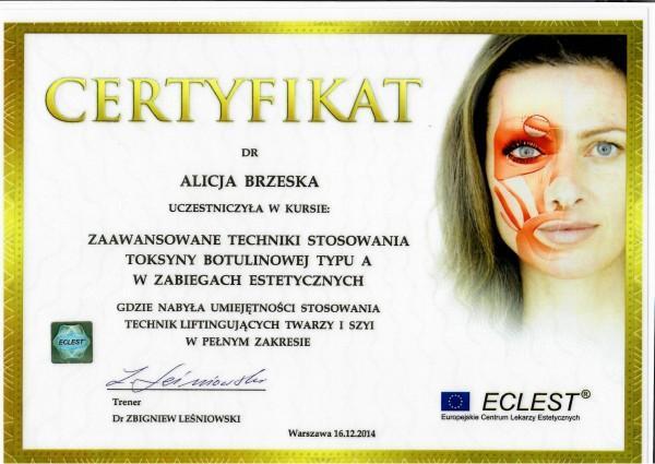 certyfikat Eclest dla Alicji Brzeskiej 2