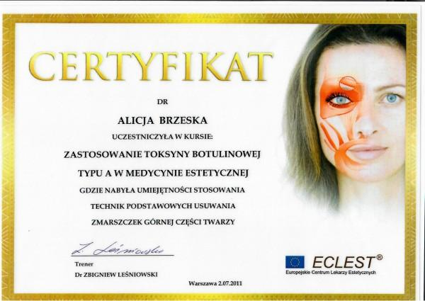 certyfikat Eclest dla Alicji Brzeskiej
