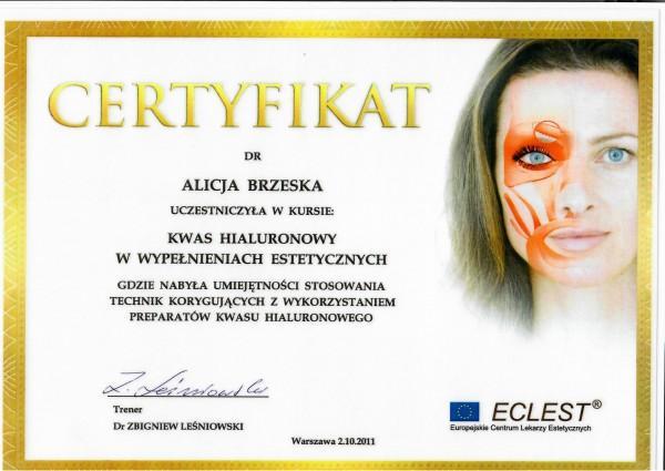 certyfikat uczestnictwa w kursie Kwas hialuronowy w wypełnieniach estetycznych Alicja Brzeska