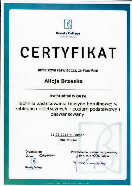 certyfikat Beauty College dla Alicji Brzeskiej
