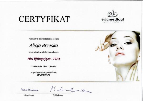 certyfikat ze szkolenia Nici liftingujące PDO Alicja Brzeska