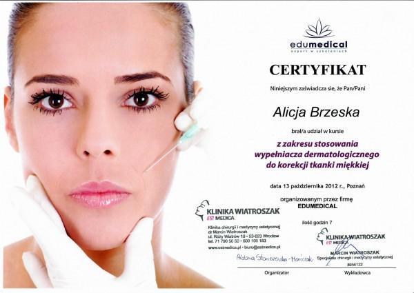 certyfikat edumedical dla Alicji Brzeskiej