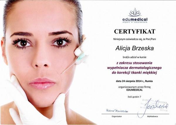 certyfikat edumedical dla Alicji Brzeskiej 2