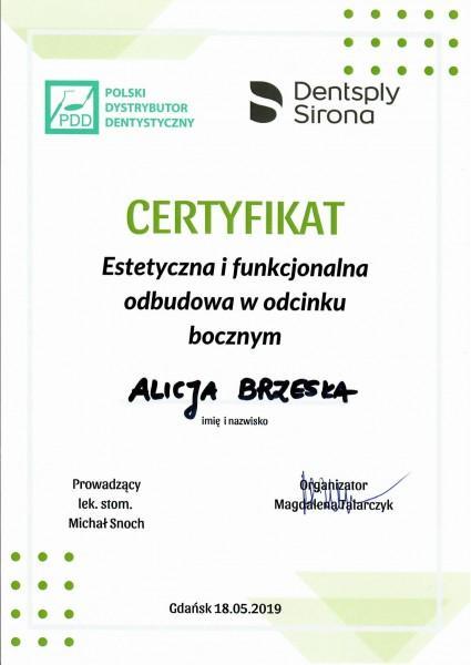 certyfikat Alicji Brzeskiej Estetyczna i funkcjonalna odbudowa w odcinku bocznym