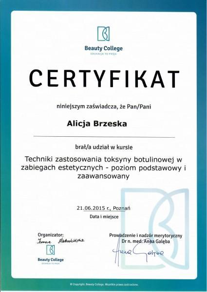 certyfikat uczestnictwa w kursie Alicja Brzeska Techniki zastosowania toksyny botulinowej
