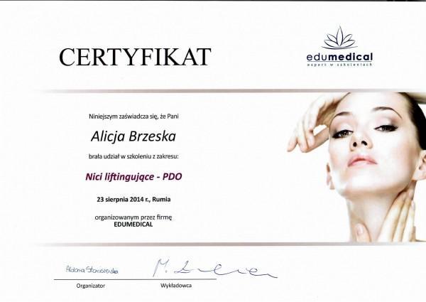 certyfikat uczestnictwa Alicji Brzeskiej w szkoleniu z nici liftingujących - PDO